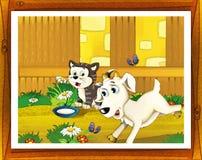 Ilustração da exploração agrícola dos desenhos animados com moldação opcional Fotografia de Stock Royalty Free