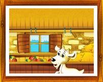 Ilustração da exploração agrícola dos desenhos animados com moldação opcional Fotografia de Stock