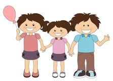 Ilustração da família feliz dos desenhos animados isolada no branco Foto de Stock