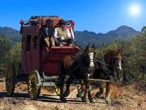 Ilustração da fantasia de um stagecoach que viaja em uma fuga empoeirada sob um sol quente do deserto ilustração do vetor