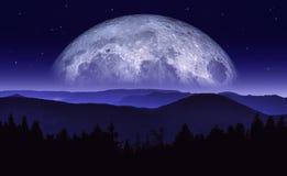 Ilustração da fantasia da lua ou do planeta que aumentam sobre a cordilheira na noite Cenário da ficção científica Trabalhos artí ilustração royalty free