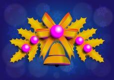 Ilustração da festão dourada de Christmass com elementos roxos Fotos de Stock