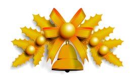 Ilustração da festão dourada do Natal Imagens de Stock Royalty Free
