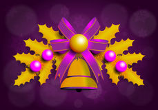 Ilustração da festão dourada do Natal com elementos roxos Fundo roxo Imagem de Stock