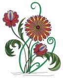 Ilustração da flor, motivos húngaros Imagens de Stock