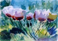 Ilustração da flor, pintura da aguarela Ilustração Royalty Free