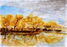 Ilustração da floresta do outono, uma pintura da aguarela Ilustração Stock