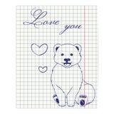 Ilustração da folha do caderno com o urso e os corações do desenho da tinta Foto de Stock Royalty Free