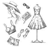 Ilustração da forma coleção da roupa e dos acessórios do verão ilustração do vetor