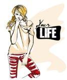 Ilustração da forma da menina moderna do estilo Fotos de Stock Royalty Free