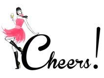 Ilustração da forma - menina com vidro do champanhe Fotografia de Stock Royalty Free