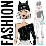 Ilustração da forma Menina do vetor Modelo do esboço Face da beleza ilustração royalty free