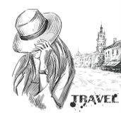 Ilustração da forma menina em um fundo velho da cidade Mão desenhada ilustração stock