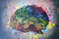 Ilustração da garatuja do cérebro com texturas ilustração stock