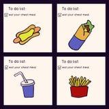Ilustração da garatuja do fast food Comida lixo Coma sua refeição da fraude Entregue a ilustração tirada do vetor feita no estilo ilustração stock