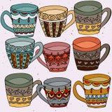Ilustração da garatuja do grupo dos copos de chá ilustração do vetor