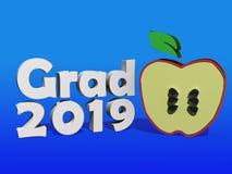 Ilustração 2019 da graduação com Apple imagens de stock