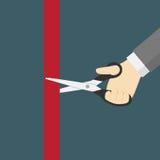 Ilustração da grande inauguração A mão que corta a fita vermelha com Scissor Fotos de Stock