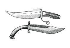 Ilustração da gravura do desenho da mão da faca do vintage Fotos de Stock