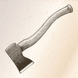 Ilustração da gravura do desenho da mão do machado no fundo do vintage Fotos de Stock