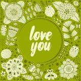 Ilustração da grinalda feita das flores e das ervas Foto de Stock Royalty Free