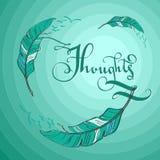 Ilustração da hortelã com penas Imagem de Stock Royalty Free