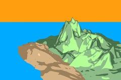 Ilustração da ilha do por do sol do estilo dos desenhos animados Foto de Stock