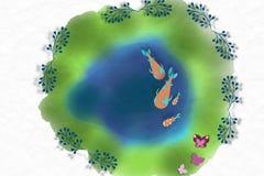 Ilustração da lagoa de Koi Imagem de Stock