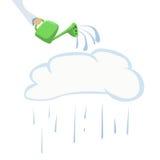 Ilustração da lata da nuvem da silhueta e molhar Fotos de Stock