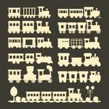 Ilustração da locomotiva do brinquedo do transporte da estrada de ferro do curso do vetor da silhueta do trem das crianças do pre Imagens de Stock
