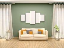 Ilustração da lona vazia acima do sofá no interior ilustração stock