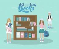 Ilustração da mãe e das crianças com livros Com os livros de crianças da inscrição ilustração stock