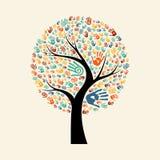Ilustração da mão da árvore para a ajuda diversa da comunidade ilustração do vetor