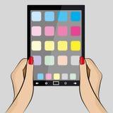Ilustração da mão da mulher que guarda um cartão Imagens de Stock