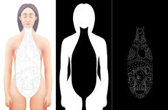 A ilustração da mão tirada extirpou o modelo fêmea da anatomia Fotografia de Stock Royalty Free