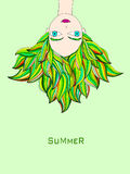 Ilustração da menina de cabeça para baixo ilustração royalty free