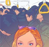 Ilustração da menina do turista que toma a fotografia do selfie no transporte público aglomerado ilustração royalty free