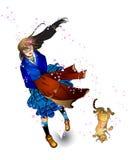 Ilustração 01 da menina e do gato Fotos de Stock