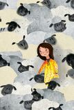 Ilustração da menina e dos carneiros ilustração stock