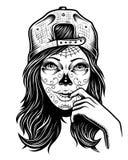 Ilustração da menina preto e branco do crânio com o tampão na cabeça Fotos de Stock Royalty Free
