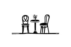 Ilustração da mobília do café Imagem de Stock