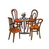 Ilustração da mobília do café ilustração royalty free
