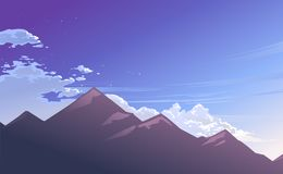 Ilustração da montanha com raio da manhã ilustração do vetor