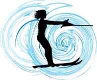 Ilustração da mulher do esqui de água. ilustração royalty free
