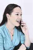 Ilustração da mulher nova no telemóvel ilustração stock