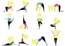 Ilustração da mulher que faz estiramentos e exercícios Imagem de Stock Royalty Free