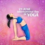 Ilustração da mulher que faz a pose da ioga no projeto do cartaz para comemorar o dia internacional da ioga Imagem de Stock Royalty Free