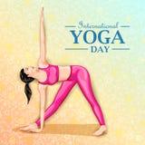 Ilustração da mulher que faz a pose da ioga no projeto do cartaz para comemorar o dia internacional da ioga Fotos de Stock