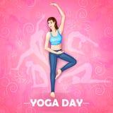 Ilustração da mulher que faz a pose da ioga no projeto do cartaz para comemorar o dia internacional da ioga Fotografia de Stock