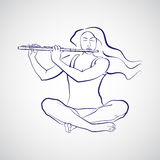 Ilustração da mulher que senta-se no sukhasana e que joga a flauta Fotografia de Stock Royalty Free